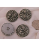 4 Grey Art Deco Design Celluloid Collectible Crafts Buttons - $7.50