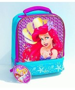 LITTLE MERMAID ARIEL DISNEY Girls Dual-Chamber Insulated Lunch Tote Box NWT $20