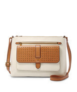 Fossil Kinley Vanilla Leather Zipper Closure Medium Crossbody/Shoulder Bag - $305.99