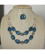 Denim Lapis and Freshwater Pearl Necklace and Earrings Set - $49.00