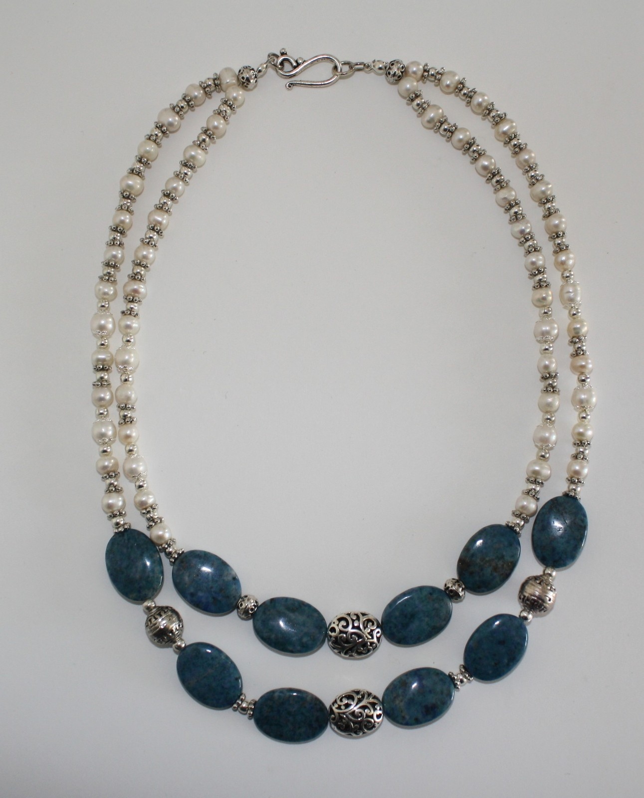 Denim Lapis and Freshwater Pearl Necklace and Earrings Set