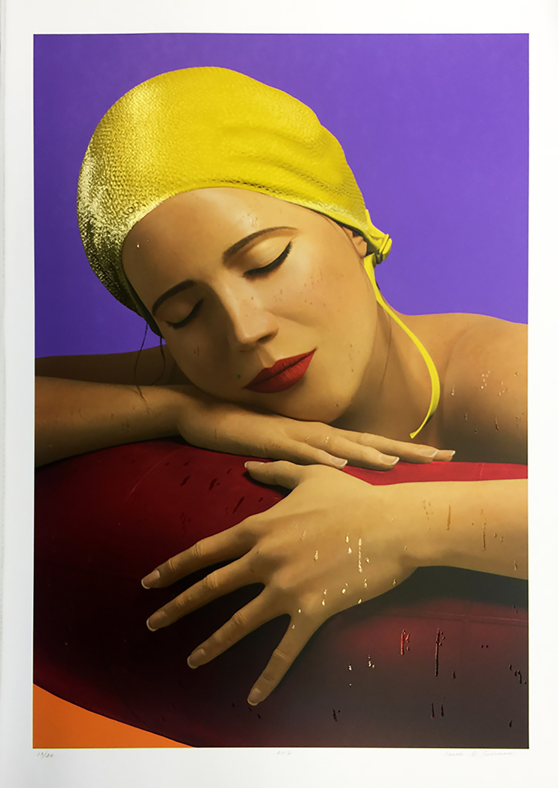 "Carole A Feuerman "" Serena With Yellow Cap"" - Signed Mixed Media Print - GallArt"