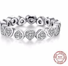 Classic Cubic Zirconia Jewelry  Silver Hearts Ring Eternity Ring - $16.40