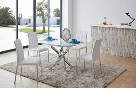 ESF 2303 -DT  3450 -DC Modern White Finish Glass Top Dining Table Set 5 Pcs
