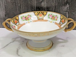 Hand Painted Porcelain Double Handled Pedestal Compote Centerpiece Bowl ... - $45.54