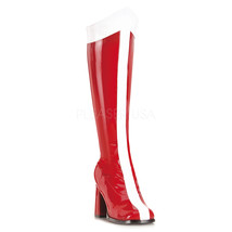 "FUNTASMA GOGO-305 3"" Heel Knee-High Boots - Red-White Str Patent - $55.95"