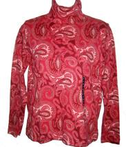 Lands' End Paisley Print Turtleneck sz PXS garnet red cotton interlock NEW - $15.00
