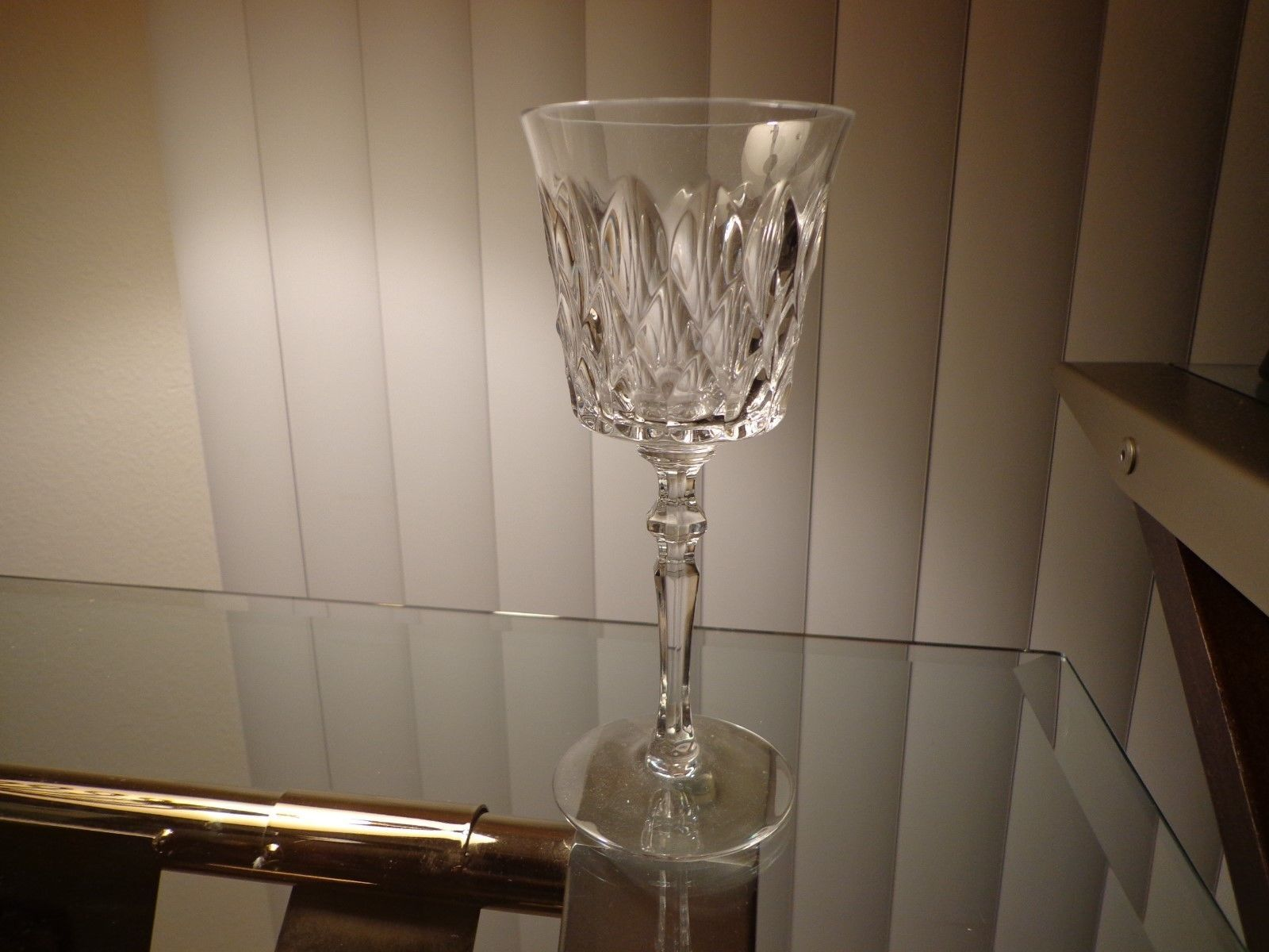 Primary image for Full Crystal Wine Glass Clear Waffle Diamond Sides 6 Sided Stem Unbranded