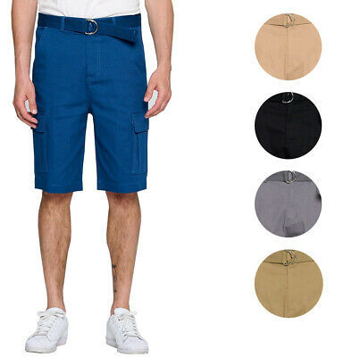 Men's Multi Pocket Casual Stretch Cotton Cargo Dress Shorts With Woven Belt