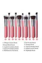 Baby Pink 10-Piece Professional Full Size Brushes Cosmetic Brush Set  - $1.142,64 MXN