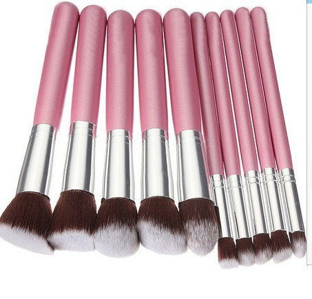 Baby Pink 10-Piece Professional Full Size Brushes Cosmetic Brush Set