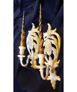 Vtg pair Hollywood regency gilt Syroco candle sconces original glitter c... - $51.10