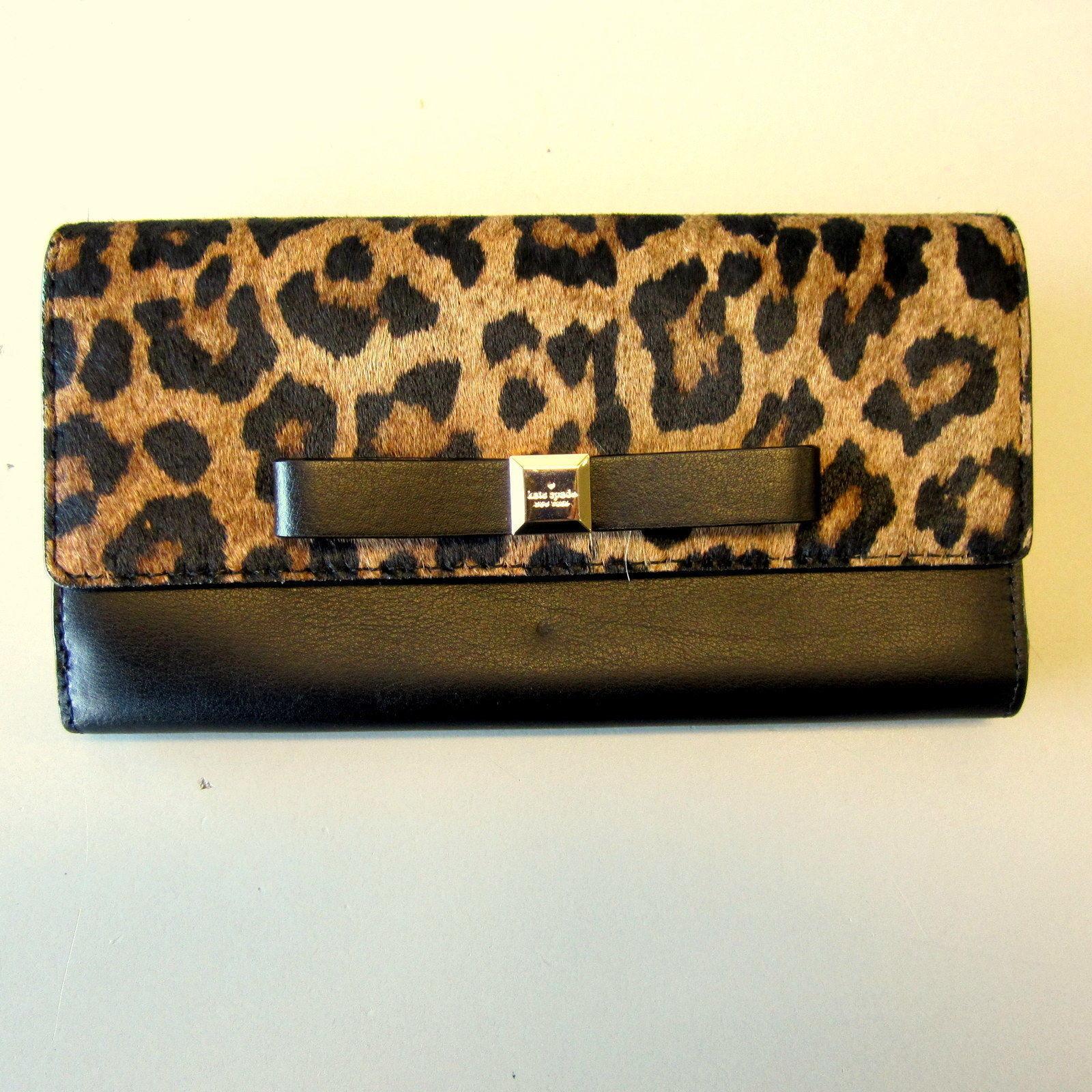 c3d2e4adb02 S l1600. S l1600. Previous. Authentic Kate Spade MILOU Rivas Street Hair  Calf Leopard Bow Wallet Clutch EUC