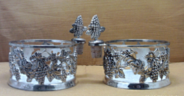 Two Vintage Godinger Silverplated Wine Bottle Holders With Matching Bottle Corks - $20.00