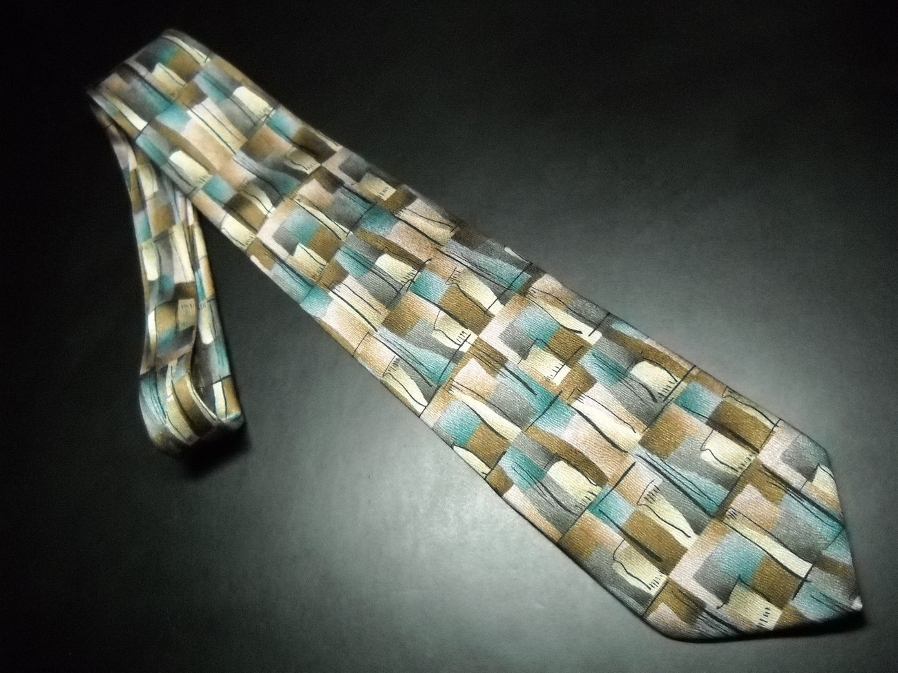 Primary image for J Garcia Neck Tie No Title Abstract Boxes of Subtle Browns Blues and Rosy Pinks