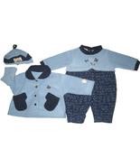 My Kids USA outfit baby boy's sz 18 M 3-piece set blue hat/jacket/one-pi... - $15.00