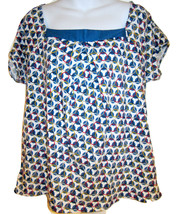 NY & Company wide necked knit top sz L blue & white circles graphic prin... - $15.00