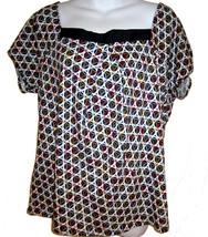NY & Company wide necked knit top sz L black & white circles graphic pri... - $15.00