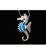 925 Sterling Silver Pendant Hawaiian Blue Opal Seahorse Sea - $27.00