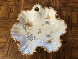 Vintage Rosedale China Blue Gold White Floral Bon-Bon Candy Nut Dish Pla... - $10.89