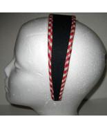Wide Headband black w/ red & white gingham trim NEW  - $6.00