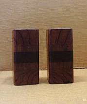 Vintage Mid Century Mod Minimalist Wood Salt & Pepper Shakers /Retro Kit... - $16.00