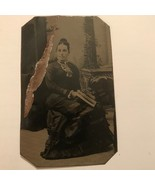 Antique Daguerreotype Dark-Haired Lady in Mourning Dress - $14.99