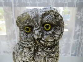 Vintage important wax owl statue with glass eyes natural cabin deco - $60.00