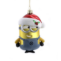 KURT ADLER DESPICABLE ME MINION DAVE w/SANTA HAT GLASS CHRISTMAS ORNAMENT - $15.88