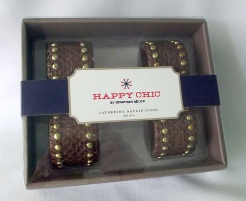 Napkin Rings Jonathan Adler Catherine Brown Metal Stud Leather Happy Chic NEW - $23.71
