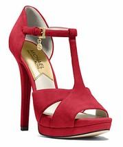 Women's Shoes Michael Kors FRANCOISE T-STRAP Platform Pumps Ankle Strap Red - $116.99
