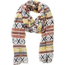 "NEW Printed Village Scarf - ""Canyon"" - Yellow/Multi-Colored on White PVX... - $14.95"