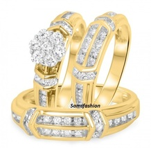 1 1/10CT Simulated Diamond Trio Matching Wedding Ring Set 14K Yellow Gold Finish - $275.62