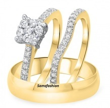 3/8 CT Simulated Diamond Cluster Matching Engagement Ring Set 18K Yellow Gold Fn - $254.38
