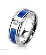 Men's Blue Stainless Steel Cz Wedding Band - $14.99