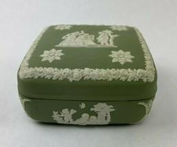 Vintage Wedgwood England Jasperware Green Celadon Neoclassic Figures Trinket Box - $34.99