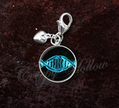 925 Sterling Silver Charm DNA Genetics Genetic Code Gene Science - $25.25