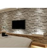 Grey Textured Effect Brick Stone Pattern Vinyl Feature Wall Paper Wallpa... - $40.50