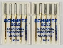 Schmetz Gold Titanium Embroidery Needles Size 90/14 - $9.95