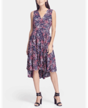Dkny V-Neck Printed Fit and Flare Dress 4 # W 16 - $19.79