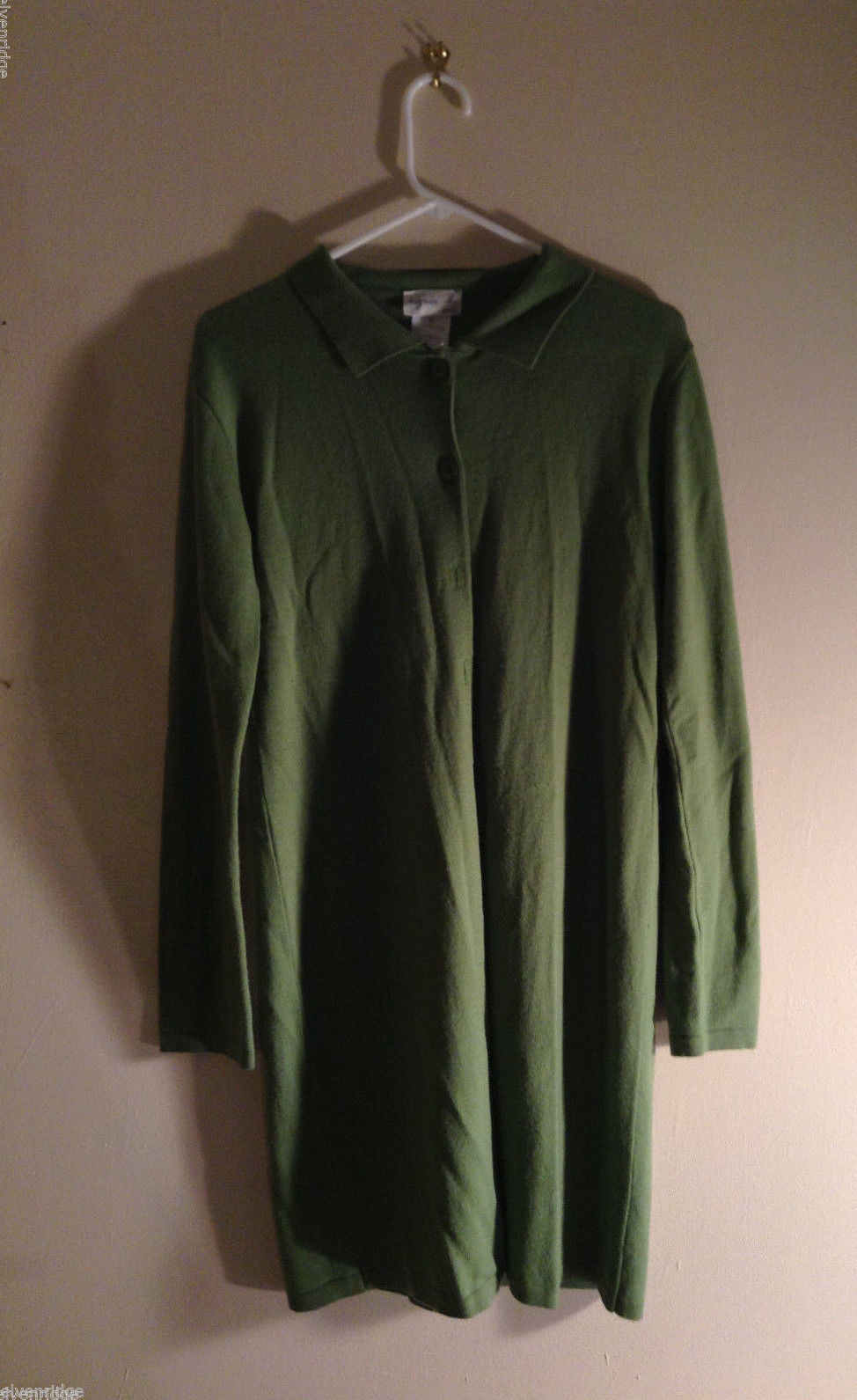 Agnes Women's size M Lime Green Long 100% Wool Cardigan Proprietary Size 3