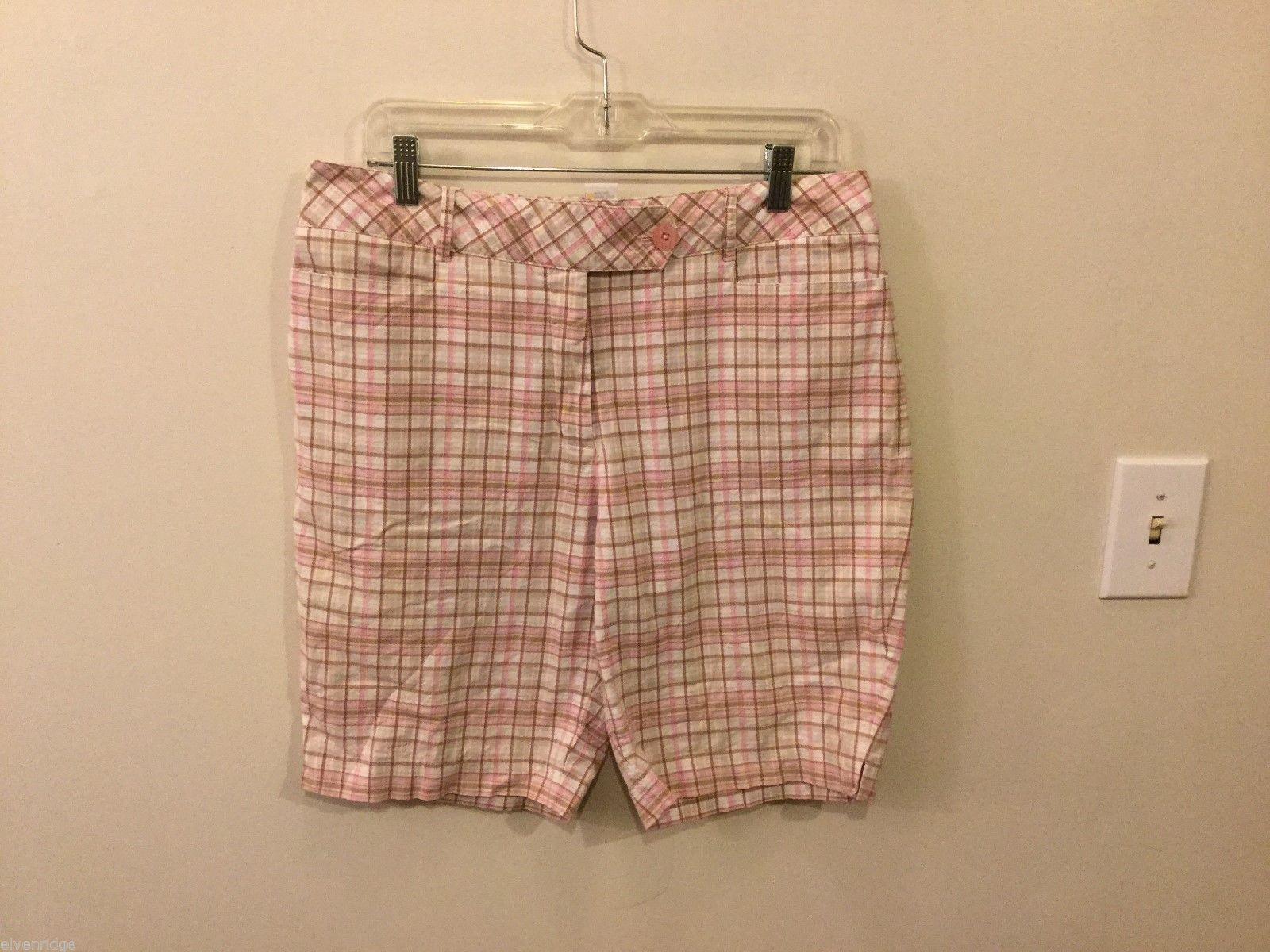 IZOD Womens Pink, Brown, and White Plaid Bermuda Shorts, Size 10