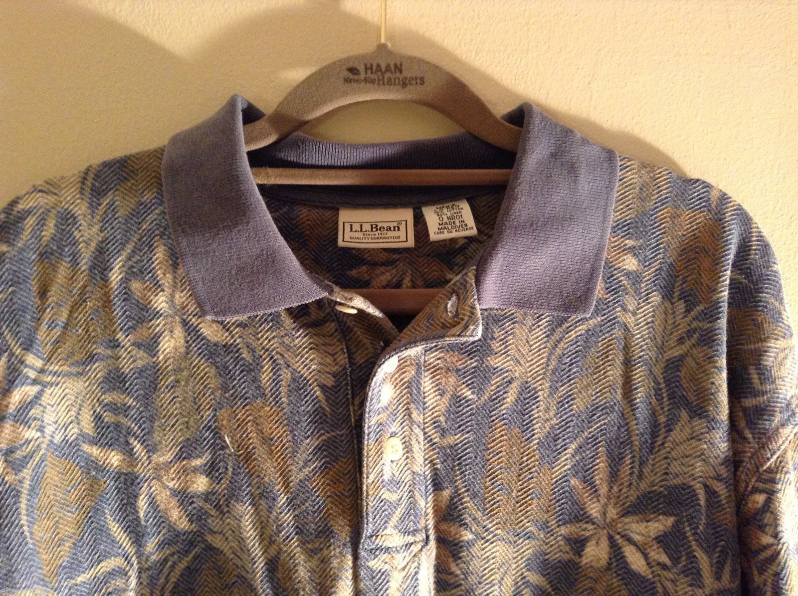 L.L. Bean Men's Large-Regular LG-Reg Polo Shirt Muted Color Tropical Palm Print