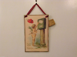 "NWT Valentine's Jumbo Wood ""Cupid Sends a Valentine"" Wall Ornament"