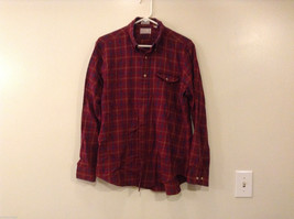 Maroon Plaid Hathaway Button Up Shirt Size L Cotton-Wool Blend