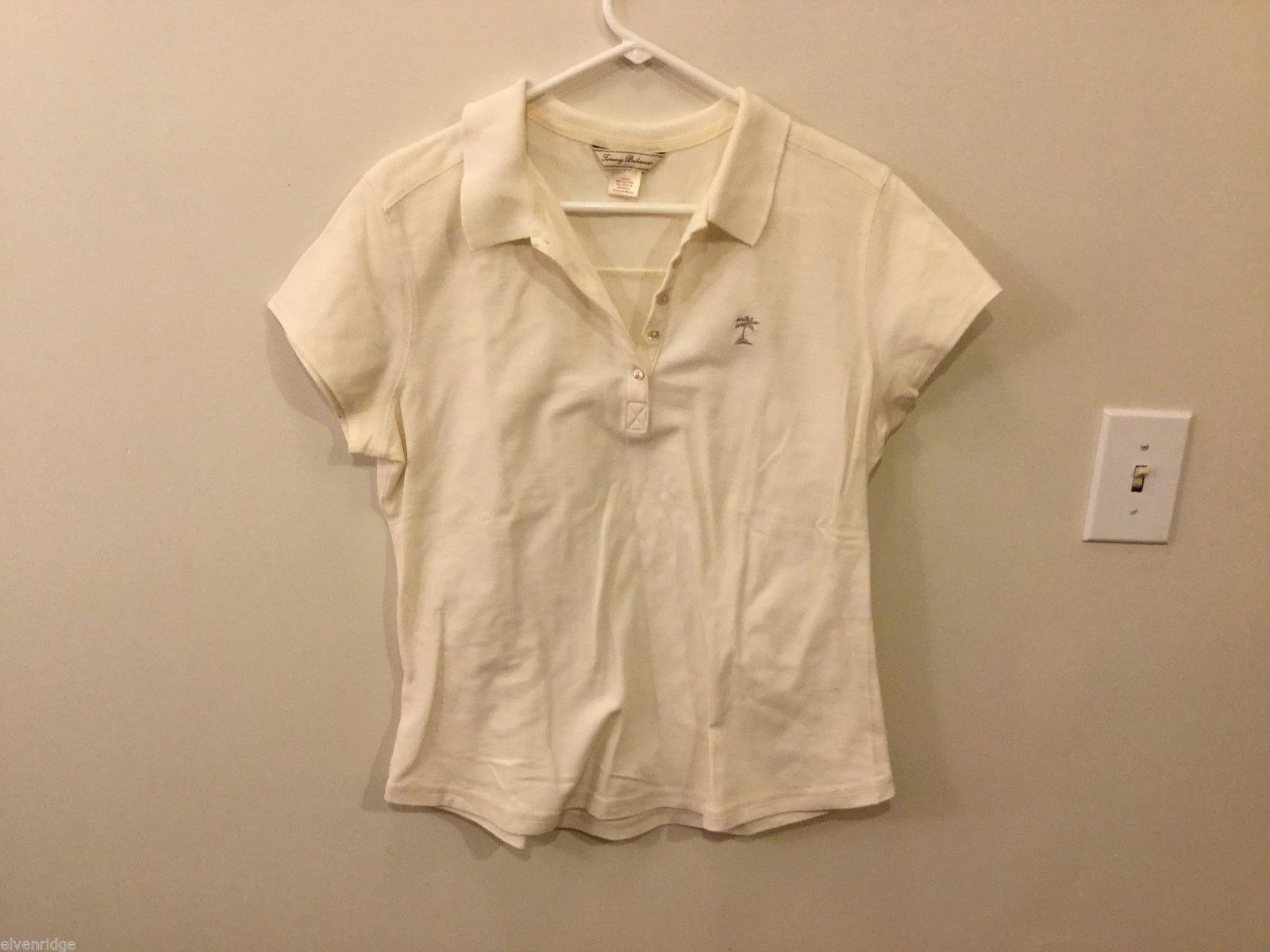 Tommy Bahama Womens Off-White Polo Shirt, Size Large