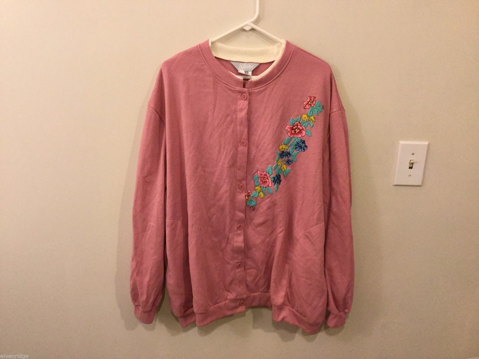 Womens Blair Pink Button Up Sweater, Size 3XL