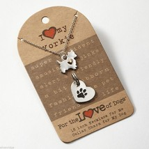 Yorkie Yorkshire Terrier Necklace w gold heart w charm for your dog's collar SET