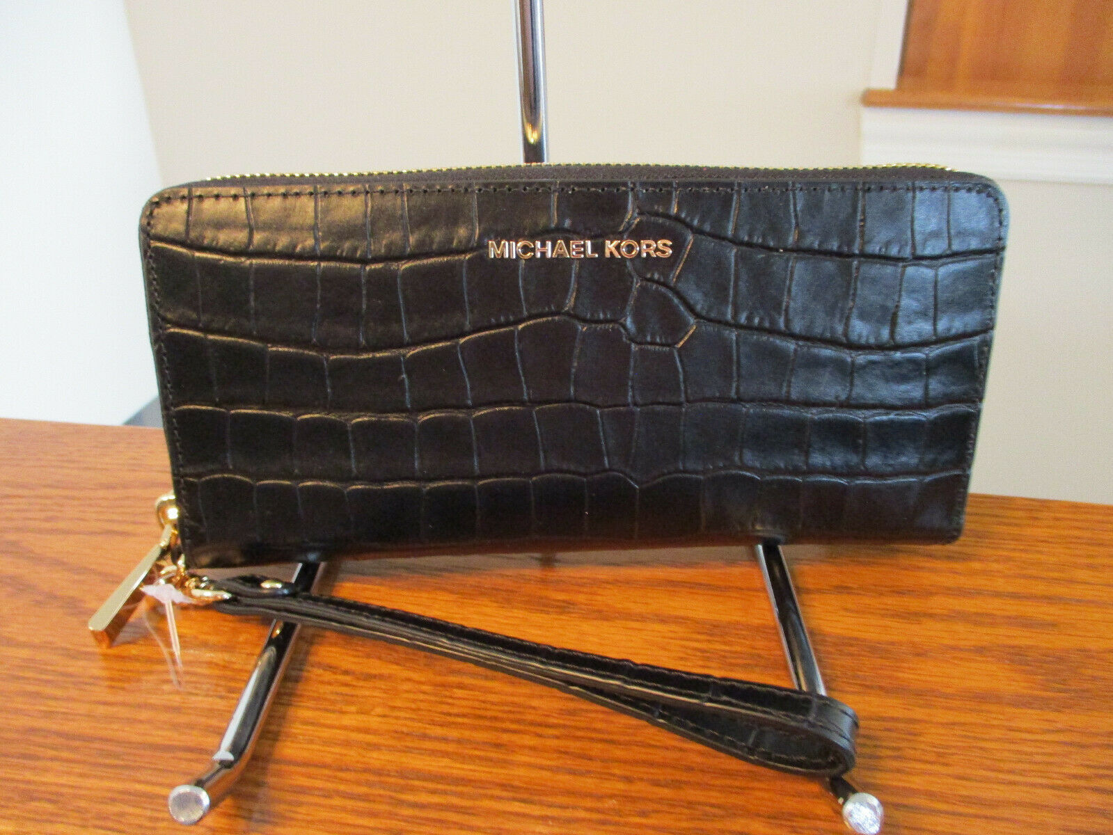 Primary image for Michael Kors Travel Croco Leather Continental Zip Wallet Jet Set Black NWT $178