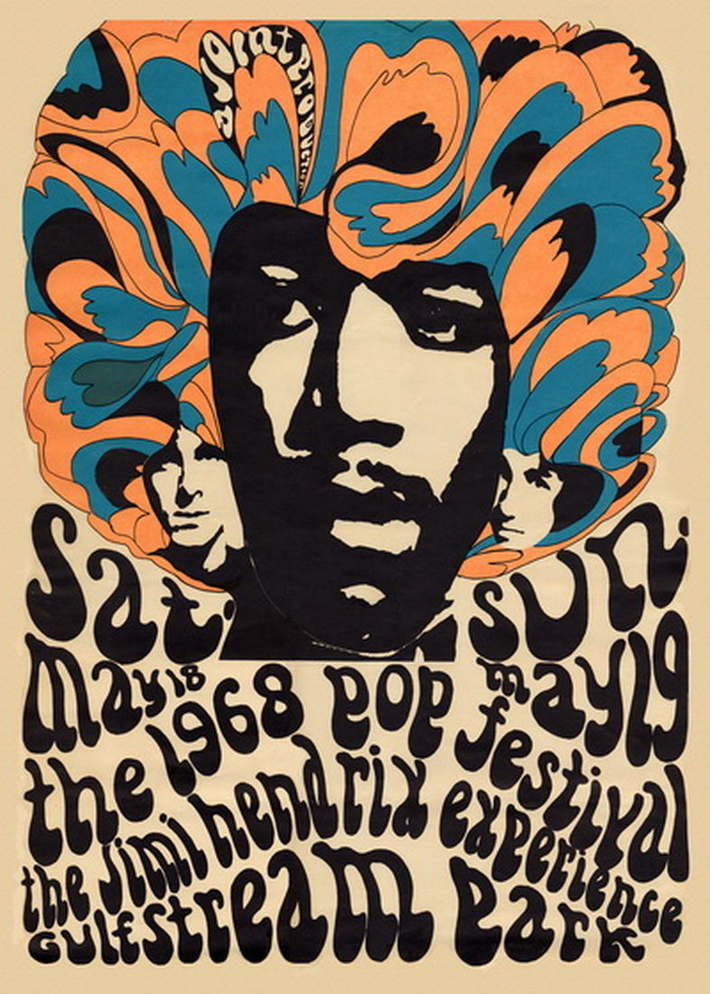 1968 Jimi Hendrix Miami Pop Festival Poster Lithograph Re-issue